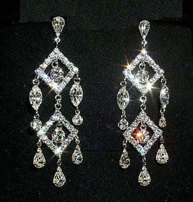 Earrings - Dangle #12331 Double Diamond Chandelier Earring