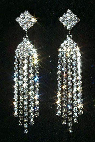 Earrings - Dangle #12350 Diamond Top Multi Line Duster Earrings