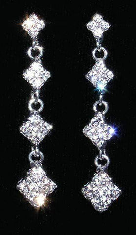 Earrings - Dangle #14009 - 4 Diamond Link Drop Earrings