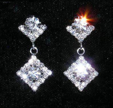 Earrings - Dangle #14953 - Square with Round Stone Earrings