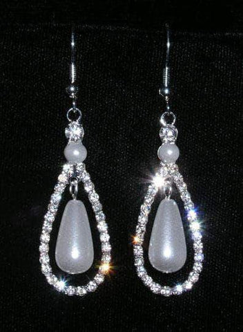 Earrings - Dangle #15280 - Double Teardrop Pearl Fish Hook Earring