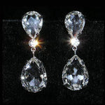 Earrings - Dangle #15331 - Large Pear Drop Crystal Earrings