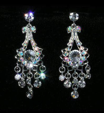Earrings - Dangle #15402 - Dainty Bow Crystal and AB Chandalier Earrings