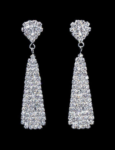 Earrings - Dangle #16483 - Rhinestone Cluster Drop Earring - 2.5""