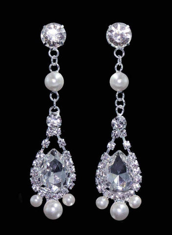 Earrings - Dangle #16535 - Rhinestone Pearl Drop Trinity Earrings - 3""