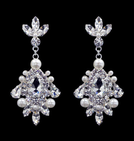 Earrings - Dangle #16552 - Pearl Cluster Drop Earrings