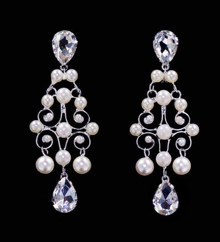 Earrings - Dangle #16569 - Pearl and Rhinestone Decorative Earrings