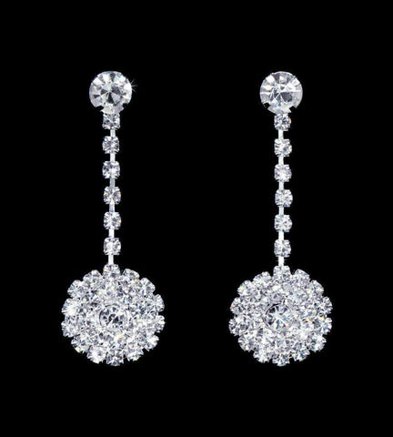 Earrings - Dangle #16901 - Round Cluster Drop Earrings - 1 3/8""
