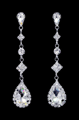 Earrings - Dangle #16920 - Diamond Tear Drop Earrings - 2.75""