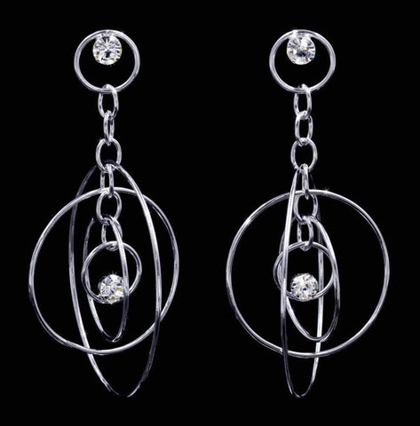 Earrings - Dangle #16936 - Rhinestone Orbit Earrings - 3""