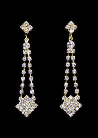 Earrings - Dangle #16998g - Rhinestone Dangle Earring - Gold Plated