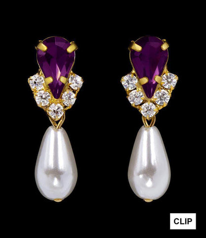 Earrings - Dangle #5538AMYGCLIP - Rhinestone Pear V Pearl Drop Earrings - Amethyst Gold Plated - Clip