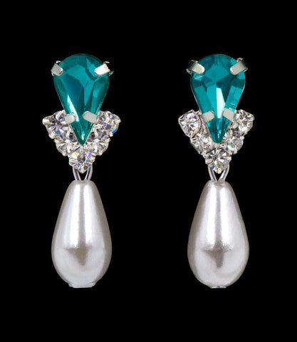 Earrings - Dangle #5538BZS - Rhinestone Pear V Pearl Drop Earrings - Blue Zircon Silver
