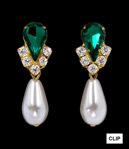 Earrings - Dangle #5538EMG CLIP - Rhinestone Pear V Pearl Drop Earrings-Emerald Gold-Clip