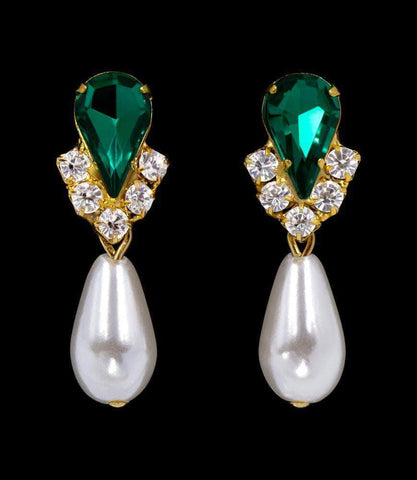 Earrings - Dangle #5538EMG - Rhinestone Pear V Pearl Drop Earrings - Emerald Gold Plated