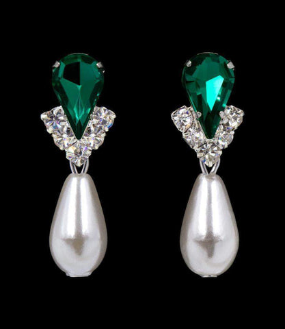 Earrings - Dangle #5538EMS -Rhinestone Pear V Pearl Drop Earrings-Emerald Silver