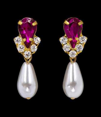 Earrings - Dangle #5538FUCHG - Rhinestone Pear V Pearl Drop Earrings - Fuchsia Gold Plated