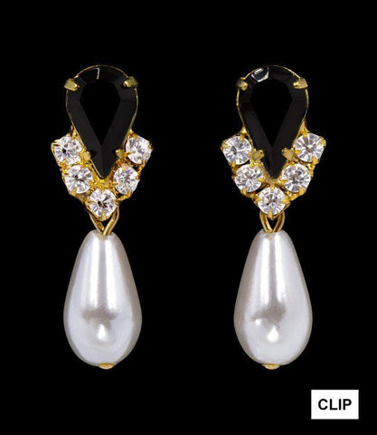 Earrings - Dangle #5538JETG CLIP - Rhinestone Pear V Pearl Drop Earrings - Jet Gold Plated - Clip