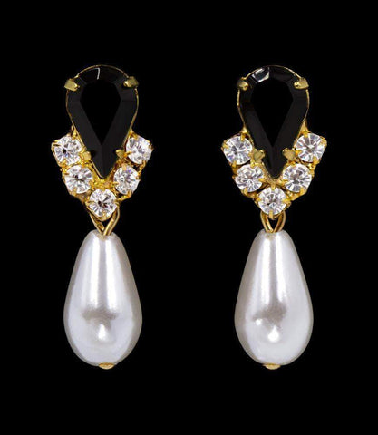 Earrings - Dangle #5538JETG - Rhinestone Pear V Pearl Drop Earrings - Jet Gold Plated