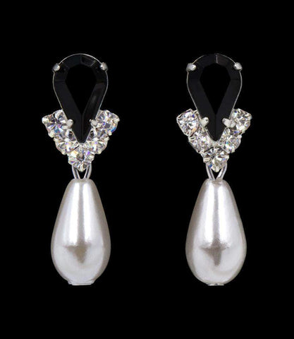Earrings - Dangle #5538JETS - Rhinestone Pear V Pearl Drop Earrings - Jet Silver Plated