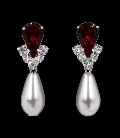Earrings - Dangle #5538RUBYS - Rhinestone Pear V Pearl Drop Earrings - Ruby Silver Plated