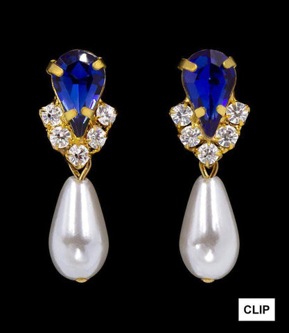Earrings - Dangle #5538SAPHG CLIP - Rhinestone Pear V Pearl Drop Earrings - Sapphire Gold Plated - Clip