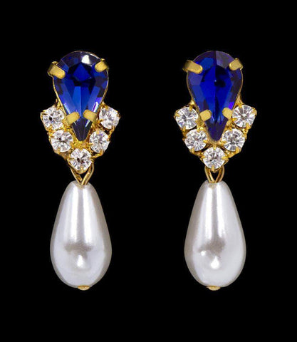 Earrings - Dangle #5538SAPHG - Rhinestone Pear V Pearl Drop Earrings - Sapphire Gold Plated