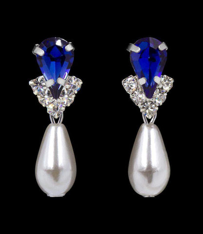 Earrings - Dangle #5538SAPHS - Rhinestone Pear V Pearl Drop Earrings - Sapphire Silver Plated