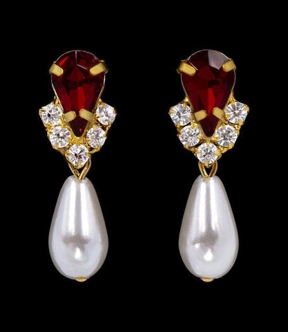 Earrings - Dangle #5538SIAMG - Rhinestone Pear V Pearl Drop Earrings - Siam Gold Plated