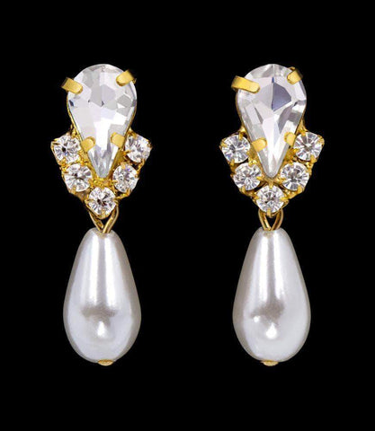 Earrings - Dangle #5538XG - Rhinestone Pear V Pearl Drop Earrings - Crystal Gold Plated