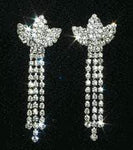 "Earrings - Dangle Earrings #10002E - 2"" Rhinestone Crown Dangle"