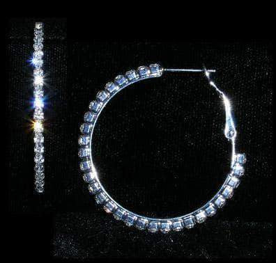 "Earrings - Hoop #14982 - 1 3/8"" Rhinestone Hoop Earrings"