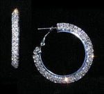 "Earrings - Hoop #14988 - 1 1/2"" Rhinestone Hoop Earrings"