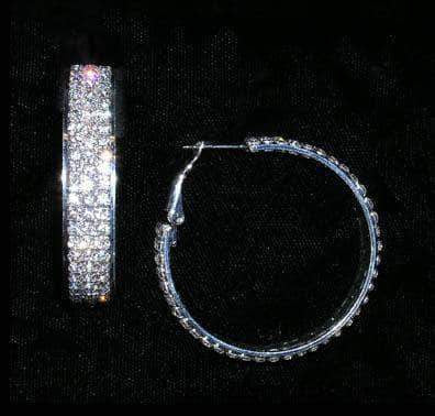 Earrings - Hoop #15019 - Fine Three Row Hoop in Frame Earring - 1.75""
