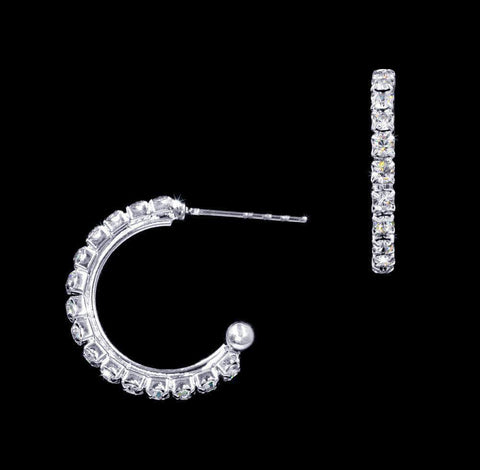 "Earrings - Hoop #16943 - 3/4"" Rhinestone Hoop Earrings"