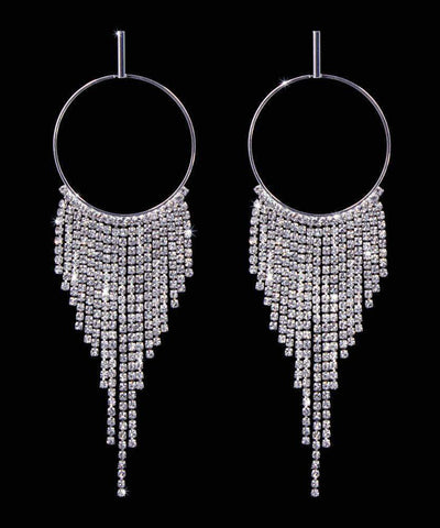 Earrings - Hoop #17012 - Fringe Hoop Earrings - 5""