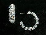 Earrings - Hoop Square Stone 3/4 Rhinestone Hoop Earrings #12588