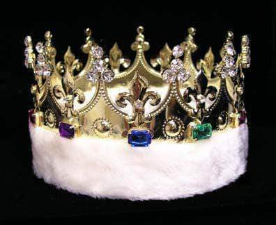 Men's Crowns and Scepters King's Crown #15598 with Faux Fur - Gold