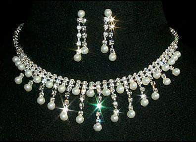 Necklace Sets - Low price #12444 - Fine Pearl and Rhinestone Graduated Neck and Ear Set