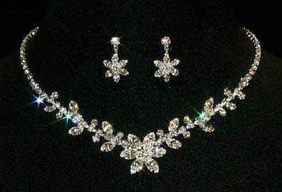 Necklace Sets - Low price #12869 - Crystal Flower and Leaf Necklace and Earring Set