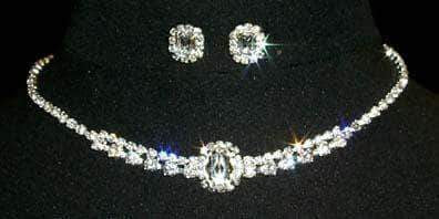 Necklace Sets - Low price #12873 Oval Center Necklace and Earring Set