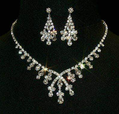 Necklace Sets - Low price #12877 - Crossover Pear Necklace and Earring Set