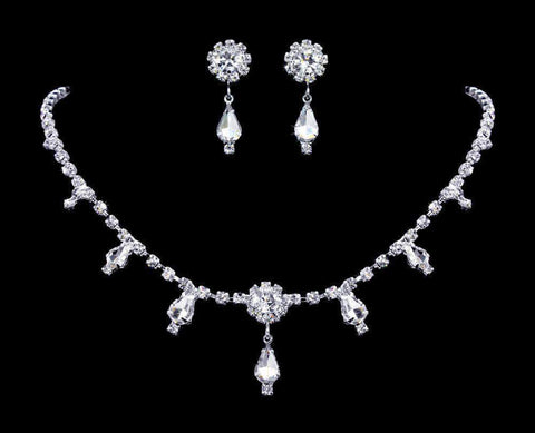Necklace Sets - Low price #12887 Multi Station Crystal Rosette Pear Neck and Ear Set