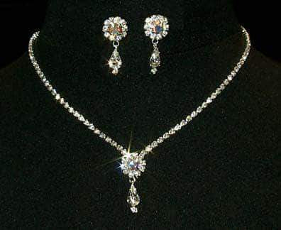 Necklace Sets - Low price #12924 -AB Rosette Pear Drop Necklace and Earring Set