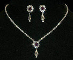 Necklace Sets - Low price #12924 -Amethyst Rosette Pear Drop Necklace and Earring Set