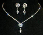 Necklace Sets - Low price #12924 -Crystal Rosette Pear Drop Necklace and Earring Set