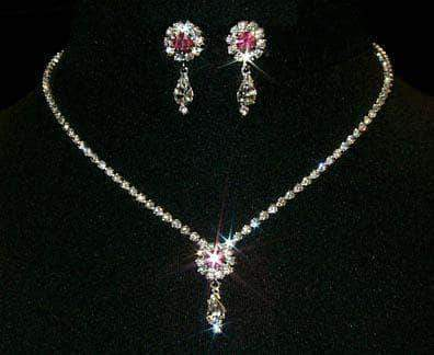 Necklace Sets - Low price #12924 -Rose Rosette Pear Drop Necklace and Earring Set