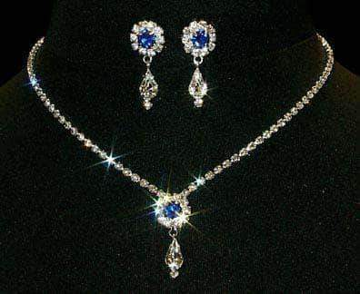 Necklace Sets - Low price #12924 -Sapphire Rosette Pear Drop Necklace and Earring Set