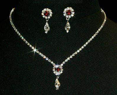 Necklace Sets - Low price #12924 -Siam Rosette Pear Drop Necklace and Earring Set