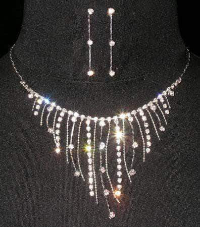 Necklace Sets - Low price #14277 - Multi Rhinestone and Chain Dangle Necklace and Earring Set